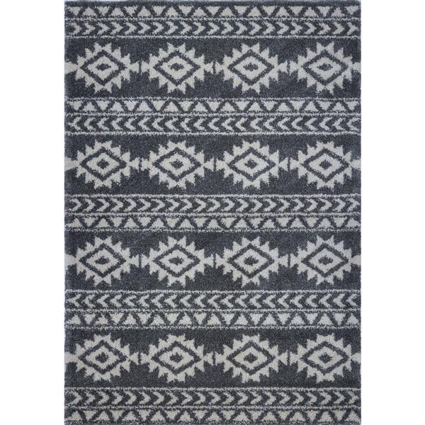 Tapis créatif simple «Treillis», 7' x 10', gris/ivoire