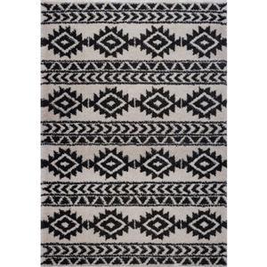 Tapis créatif simple «Treillis», 5' x 8', gris foncé/ivoire