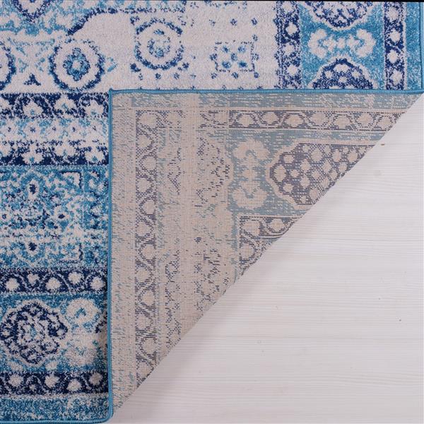 Tapis Zosia, 5,3' x 7,5', polypropylène, bleu