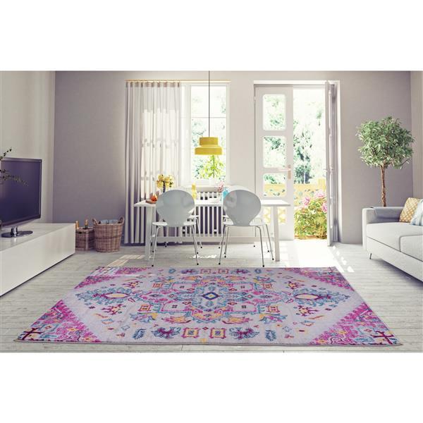La Dole Rugs® Shareen Area Rug - 6.4' x 9.4' - Polypropylene - Pink/Multi