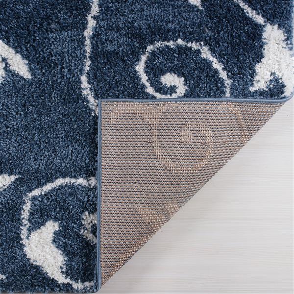 Tapis Rabat, 6,4' x 9,4', polypropylène, bleu/blanc
