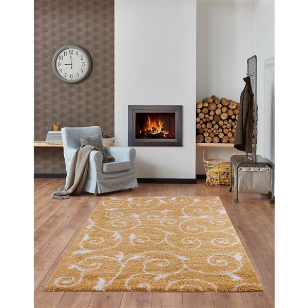 La Dole Rugs® Rabat Area Rug - 2.6' x 9.8' - Polypropylene - Yellow/White