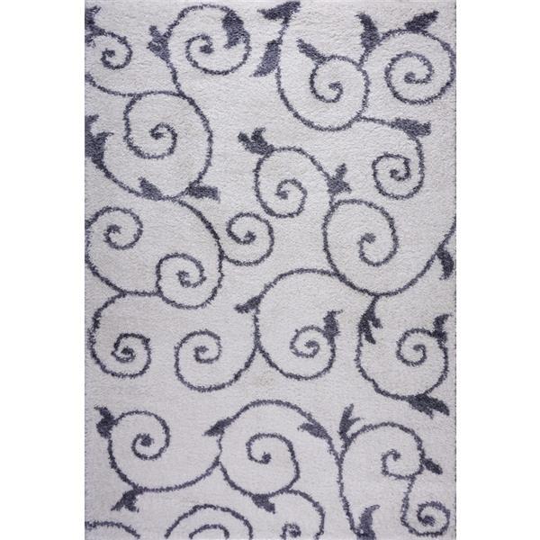Tapis Rabat, 2,6' x 4,9', polypropylène, blanc/gris foncé