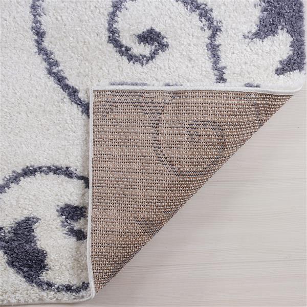Tapis Rabat, 2,6' x 9,8', polypropylène, blanc/gris foncé