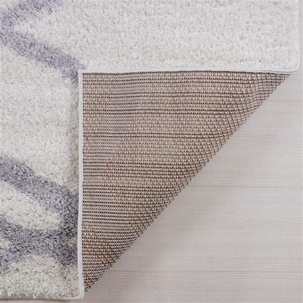 La Dole Rugs® Tangier Rug - 6.4' x 9.4' - Polypropylene - White/Dark Gray