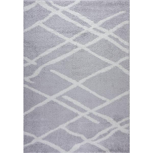 Tapis Tangier, 6,4' x 9,4', polypropylène, gris/blanc