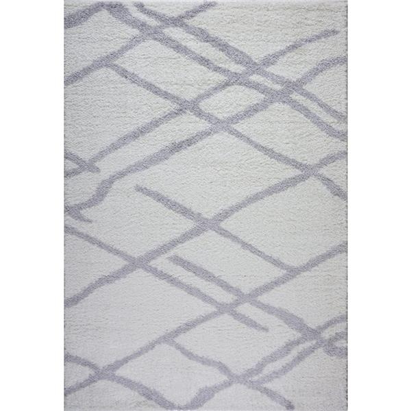 La Dole Rugs® Tangier Area Rug - 2.6' x 4.9' - Polypropylene - White/Gray