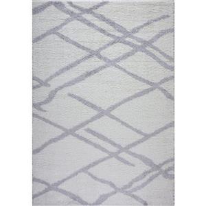 Tapis Tangier, 2,6' x 4,9', polypropylène, blanc/gris