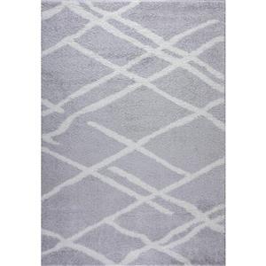 Tapis Tangier, 2,6' x 9,8', polypropylène, gris/blanc