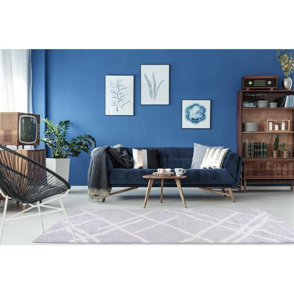 La Dole Rugs® Tangier Area Rug - 2.6' x 4.9' - Polypropylene - Gray/White