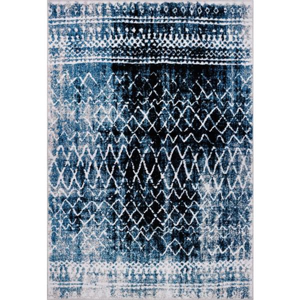 La Dole Rugs® Verona Rug - 3.9' x 5.6' - Polypropylene - Turquoise/Black