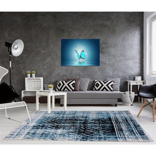 Tapis Verona, 1,6' x 2,6', polypropylène, turquoise/noir