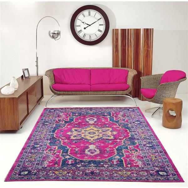 Tapis Beverly, 5,3' x 7,5', polypropylène, rose/violet