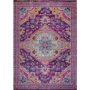 Tapis Elson, 2,6' x 4,9', polypropylène, violet/rose