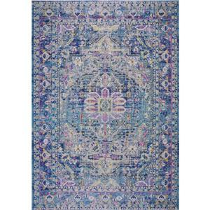 Tapis d'extérieur Rowen, 5,3' x 7,5', polypropylène, bleu