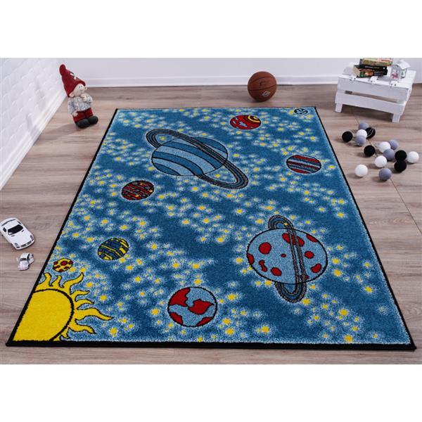La Dole Rugs®  Kids Area Rug - 5.3' x 7.3' - Polypropylene - Blue/Yellow