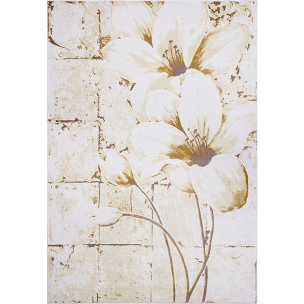 La Dole Rugs®  Floral Area Rug - 3.9' x 5.6' - Polypropylene - Beige/Cream