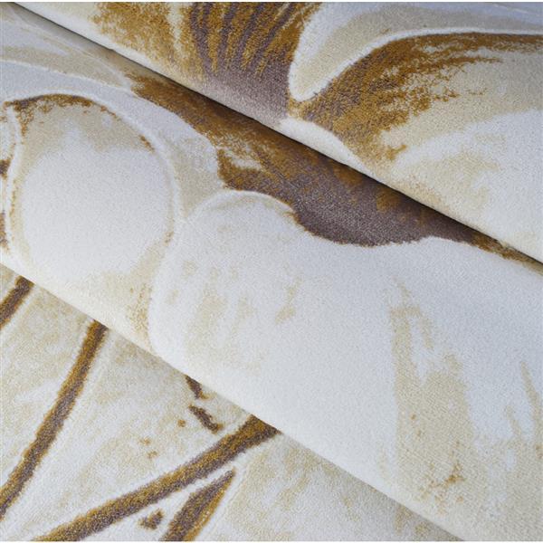 Tapis floral, 6,4' x 9,4', polypropylène, beige/crème