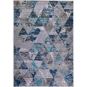 Tapis géométrique, 6,4' x 9,4', polypropylène, sarcelle/gris