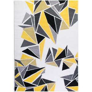 Tapis géométrique, 5,3' x 7,5', multicolore