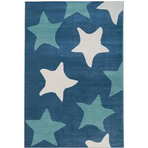 Tapis avec étoiles, 6,4' x 9,4', polypropylène, blanc/bleu