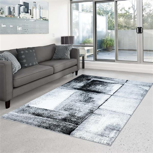 La Dole Rugs®  Abstract Area Rug - 3.8' x 5.2' - Polypropylene - Gray