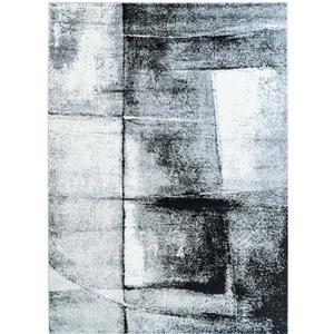 Tapis abstrait, 3,8' x 5,2', polypropylène, gris