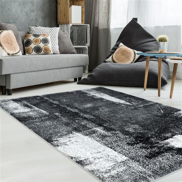La Dole Rugs®  Abstract Rug - 7.8' x 10.4' - Polypropylene - Black/White