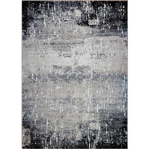 Tapis abstrait Wasaga, 5,3' x 7,5', polypropylène, gris