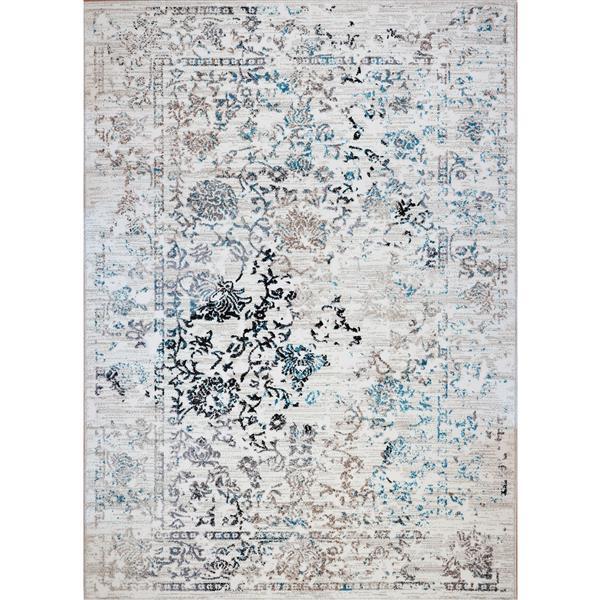 Tapis Whitehaven, 5,3' x 7,5', polypropylène, blanc/bleu