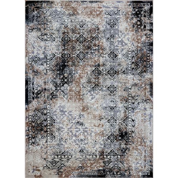 La Dole Rugs® Tayrona Area Rug - 5.3' x 7.5' - Polypropylene - Black/Gray