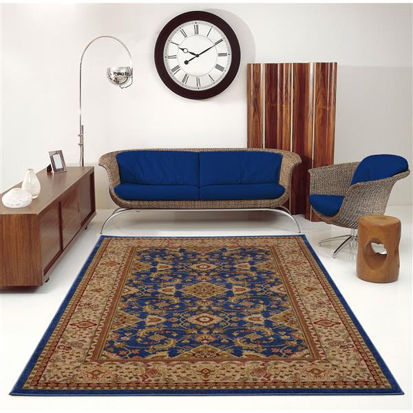 La Dole Rugs® Traditionnal Rug - 2.6' x 9.8' - Polypropylene - Blue/Cream