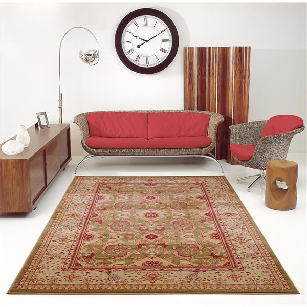La Dole Rugs® Traditionnal Rug - 2.6' x 4.9' - Polypropylene - Mustard/Red