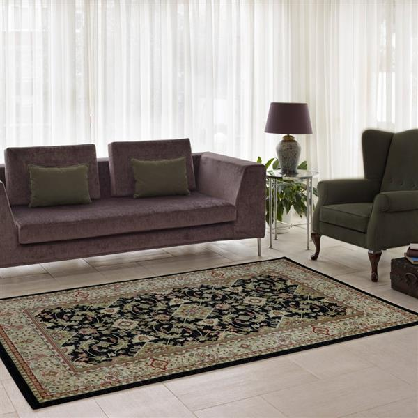 La Dole Rugs® Traditionnal Rug - 5.3' x 7.5' - Polypropylene - Black/Cream
