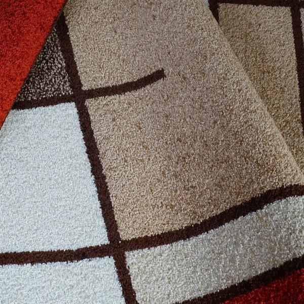 La Dole Rugs®  Geometric Rug - 3.9' x 5.6' - Polypropylene - Beige/Orange