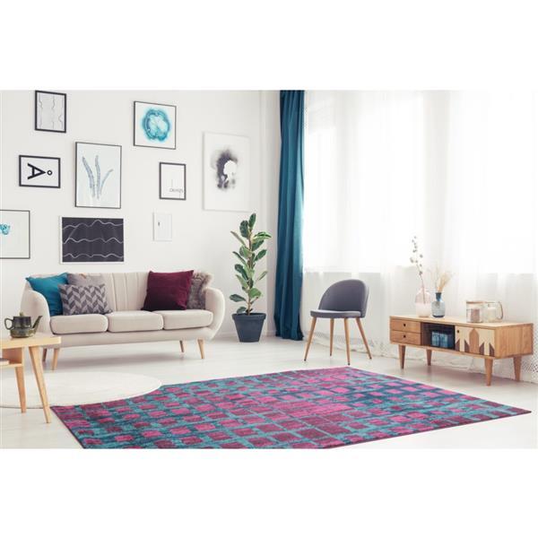 La Dole Rugs®  Geometric Rug - 7.8' x 10.4' - Polypropylene - Pink/Blue