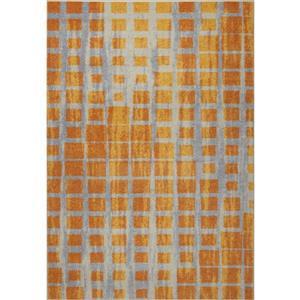 Tapis géométrique, 7,8' x 10,4', polypropylène, jaune