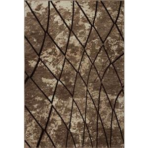 Tapis géométrique, 2,6' x 4,9', polypropylène, beige foncé