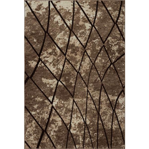 Tapis géométrique, 2,6' x 9,8', polypropylène, beige foncé