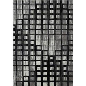 Tapis géométrique, 3,9' x 5,6', polypropylène, gris