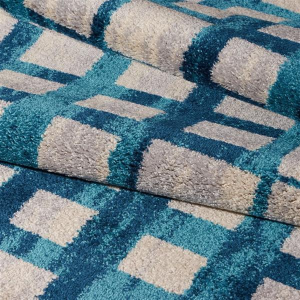 La Dole Rugs®  Geometric Rug - 6.4' x 9.4' - Polypropylene - Blue/Beige