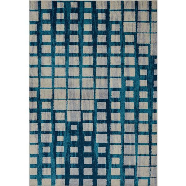 La Dole Rugs®  Geometric Area Rug - 2' x 3.3' - Polypropylene - Blue/Beige