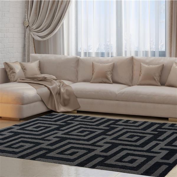 La Dole Rugs®  Calgary Abstract Area Rug - 7.8' x 10.4' - Microfibre - Gray