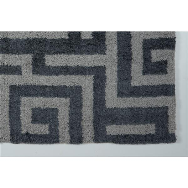 Tapis abstrait Calgary, 6,4' x 9,4', microfibre, gris