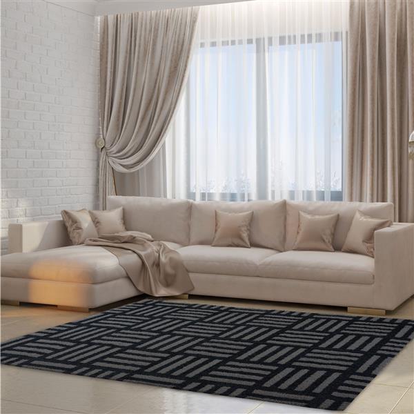 La Dole Rugs® Oknagon Abstract Area Rug - 6.4' x 9.4' - Microfibre - Gray