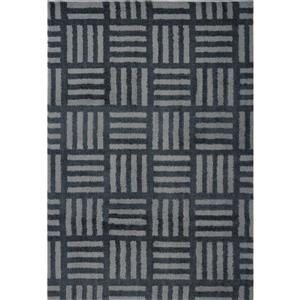 Tapis abstrait Oknagon, 6,4' x 9,4', microfibre, gris