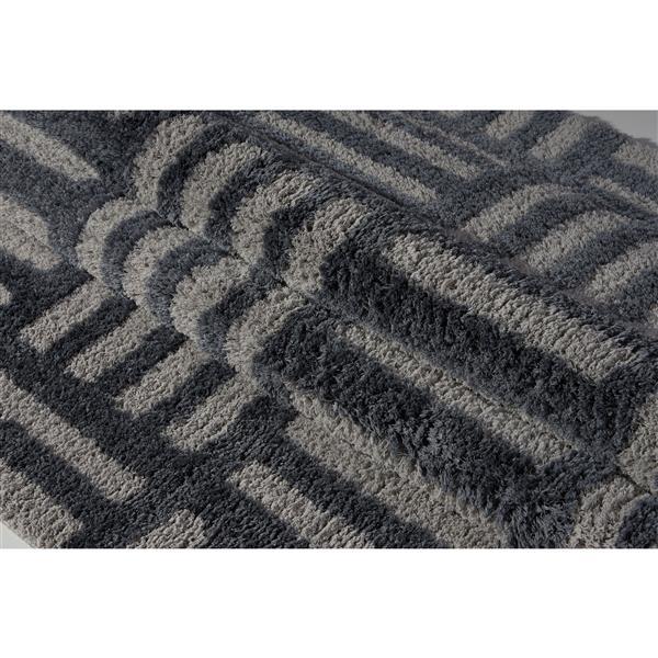 Tapis abstrait Oknagon, 7,8' x 10,4', microfibre, gris