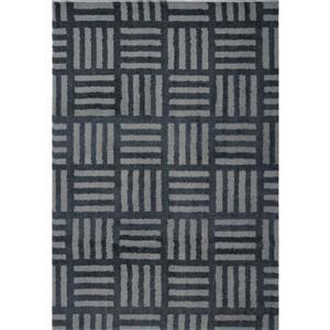 Tapis abstrait Oknagon, 2,6' x 9,8', microfibre, gris