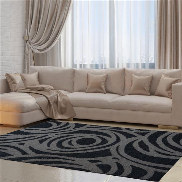 La Dole Rugs® Victoria Abstract Area Rug - 5.3' x 7.5' - Microfibre - Gray