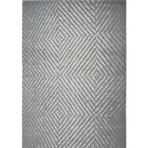 Tapis abstrait Whistler, 5,3' x 7,5', microfibre, gris